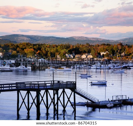 Another Perfect Autumn Day Draws To A Close At Southwest Harbor On Mount Desert Island, Acadia National Park, Maine, USA - stock photo