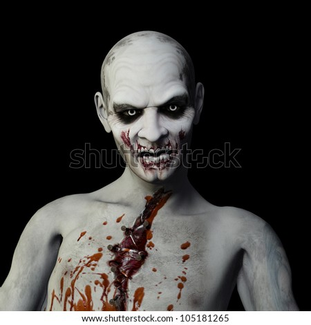 Another Zombie: Undead Zombie glaring at you. Isolated on a black background. - stock photo