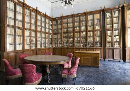 anscient library of rare books, sicily, italy