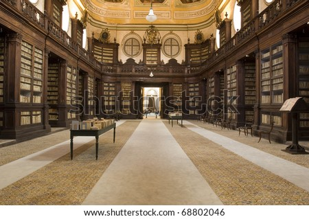 anscient Ursino library of rare books, catania, sicily, italy - stock photo