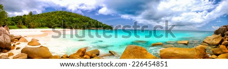 Anse Georgette beach panorama in Praslin Island, Seychelles - stock photo