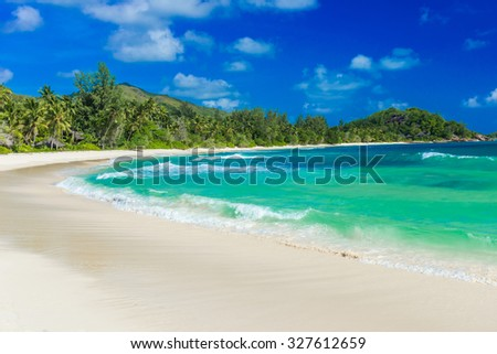 Anse Kerlan - Tropical beach in Seychelles, Praslin - stock photo