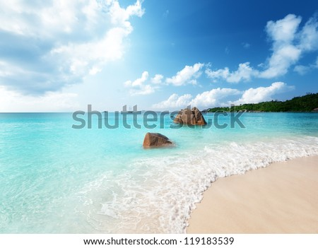 Anse Lazio beach on Praslin island in Seychelles - stock photo