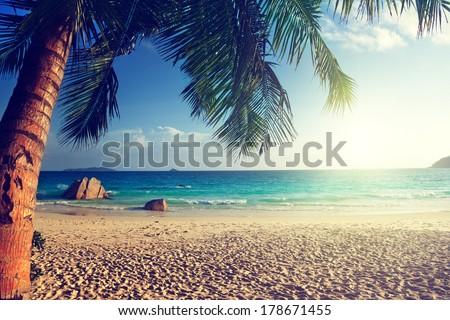 Anse Lazio beach, Praslin island, Seychelles - stock photo