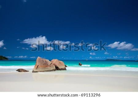 Anse Lazio the best beach on Praslin island in Seychelles - stock photo