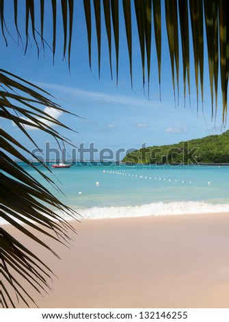 Anse Marcel beach and boats on french side of St Martin Sint Maarten Caribbean - stock photo