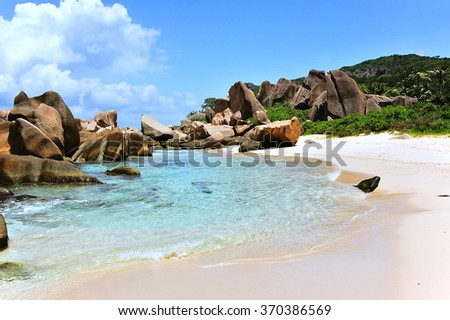 Anse Marron,  Beach on Island La Digue, Seychelles