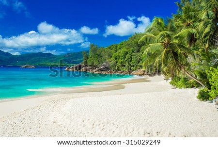 Anse Soleil - Paradise beach on tropical island Mahé - stock photo