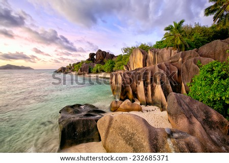 Anse Source d'Argent beach at sunset, La Digue Island, Seyshelles - stock photo