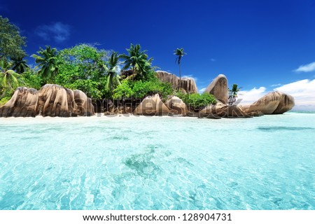 Anse Source d'Argent beach, La Digue island, Seyshelles - stock photo