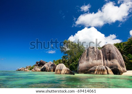 Anse Source d Argent beach on La Digue island in Seychelles - stock photo