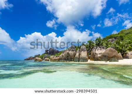 Anse Source d'Argent - Beautiful granite rocks at beach on island La Digue in Seychelles