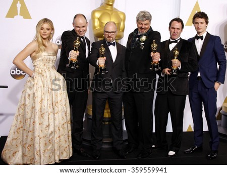 Ansel Elgort, Chloe Grace Moretz, Andrew Lockley, Ian Hunter, Scott R. Fisher and Paul Franklin at the 87th Annual Academy Awards held at the Loews Hotel in Los Angeles, USA on February 22, 2015. - stock photo