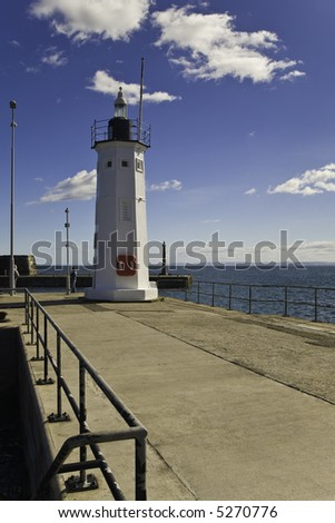 Anstruther Harbour Lighthouse, Fife, Scotland - stock photo