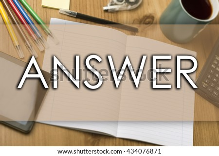 ANSWER - business concept with text - horizontal image - stock photo
