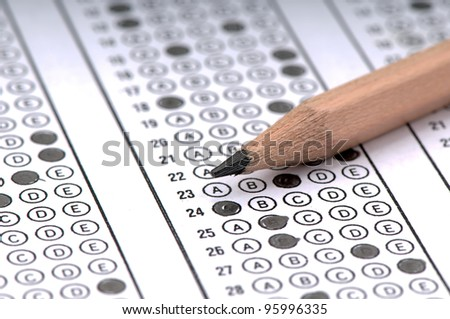 Answer sheet. - stock photo