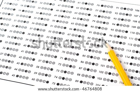 Answer sheet with pencil