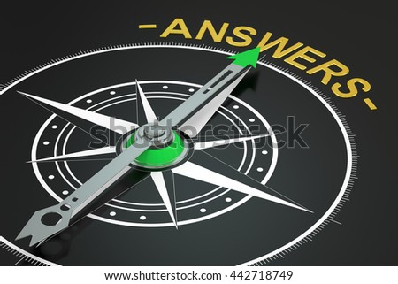Answers compass concept, 3D rendering - stock photo