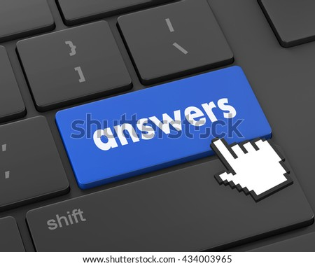 answers concept on the modern keyboard, 3d rendering - stock photo
