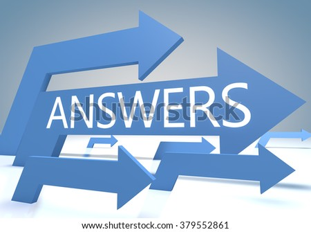 Answers 3d render concept with blue arrows on a bluegrey background. - stock photo