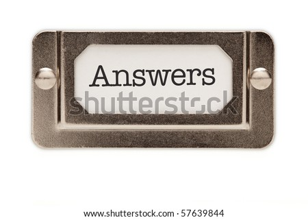 Answers File Drawer Label Isolated on a White Background. - stock photo