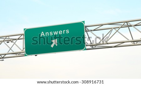 Answers - Highway Sign Direction - stock photo