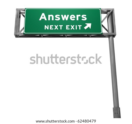 Answers - Next Exit Freeway Sign - stock photo