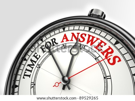 answers time concept clock closeup on white background with red and black words - stock photo