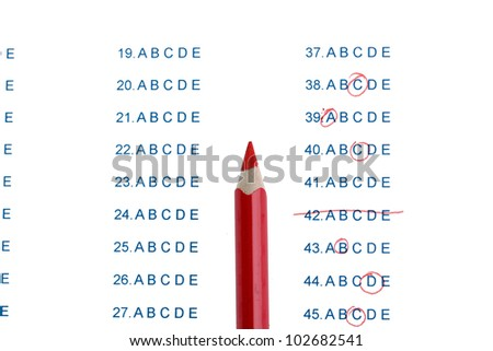 Answers to test questions close-up - stock photo