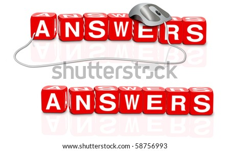 answers written in red dices with white letters find  solution to your question online or get support through faq - stock photo