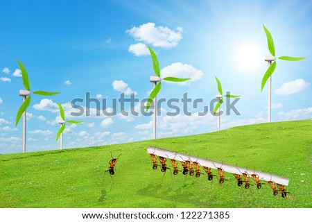 Ant wind power station on the grass