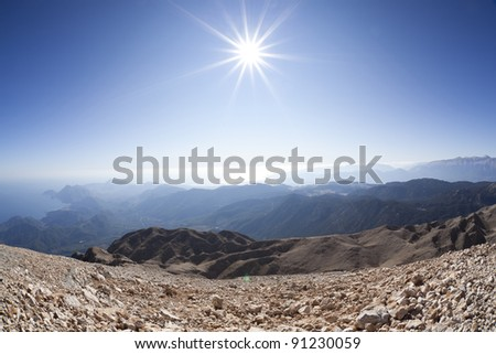 Antalya aerial view, Taurus Mountains with clear sky - stock photo