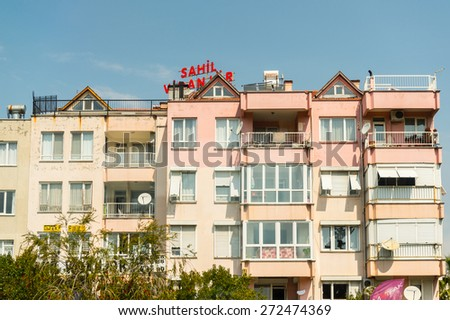 ANTALYA, TURKEY - APR 15, 2015: Hotel in Antalya, Turkey. Antalya is the eighth most populous city in Turkey and a popular touristic destination