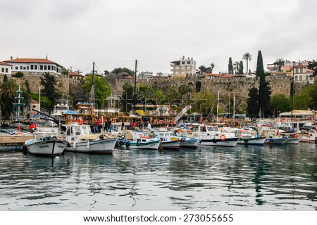 ANTALYA, TURKEY - APR 19, 2015: Old harbour in Antalya (Kaleici), Turkey. Old town of Antalya is a popular destination among  tourists