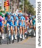 ANTALYA, TURKEY - APRIL 22: Cyclists in action during the 1st stage of 48th Presidential Cycling Tour of Turkey on April 22, 2012 in Alanya, Turkey. - stock photo
