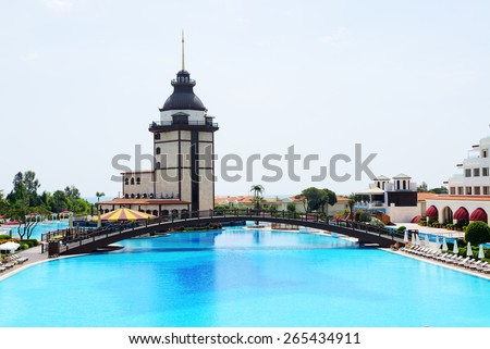 ANTALYA, TURKEY - APRIL 23: The Mardan Palace luxury hotel is considered Europe's most expensive luxury resort on April 23, 2014 in Antalya, Turkey. It is was opened in 2009 and costs $1.4 billion. - stock photo