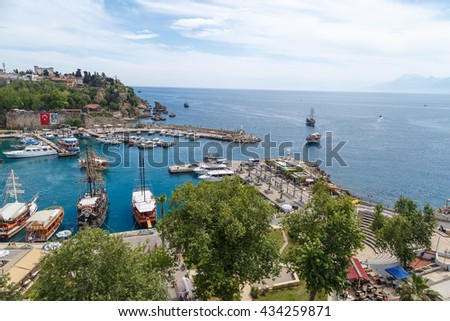ANTALYA, TURKEY - APRIL 23, 2016 : View of Antalya Marina with boats, ships and yatches on the coast.