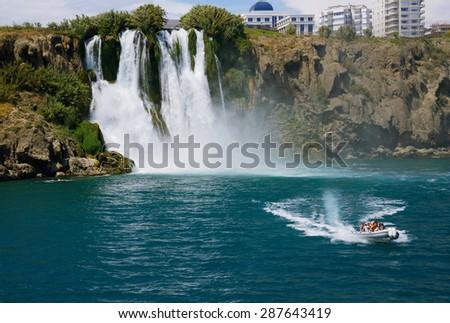 Antalya, Turkey, June 5, 2015. Duden waterfall (Karpuzkaldiran) - stock photo