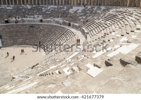 ANTALYA, TURKEY - MARCH 7, 2016 : View of amphitheater with historical old granit stairs in Aspendos Ancient City.