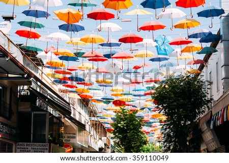 ANTALYA,TURKEY, 23 MAY 2015. Umbrellas in the sky city tourist attraction.  - stock photo
