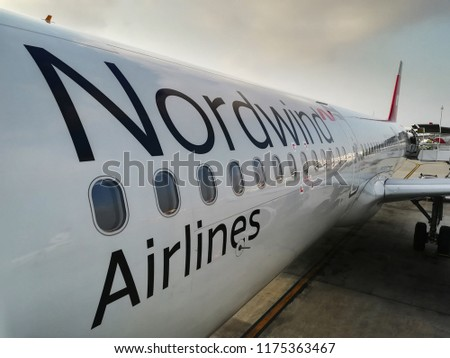 ANTALYA, TURKEY - SEPTEMBER 04 2018: Nordwind Airlines airplane in Antalya International Airport . Nordwind Airlines, LLC is a Russian scheduled and charter airline.