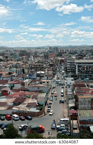 Antananarivo: A view of busy Antananarivo, Madagascar - early morning shot - stock photo