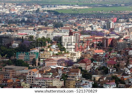 Antananarivo, french name Tananarive, short name Tana,  Very poor capital and largest city in Madagascar, Madagasikara republic. View from top to Central Antananarivo cityscape.