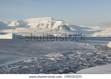 Antarctic coast sunny winter day. - stock photo