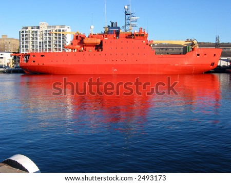 Antarctic exploration ship - stock photo