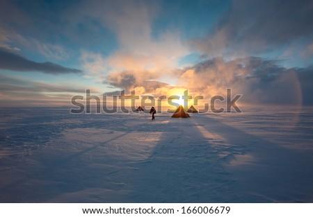 antarctic field camp - stock photo