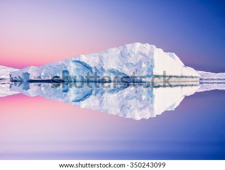 Antarctic glacier in the snow. Beautiful winter background. Vernadsky Research Base. - stock photo