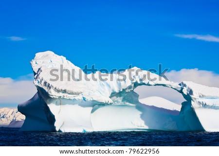 Antarctic Glacier with icicles - stock photo