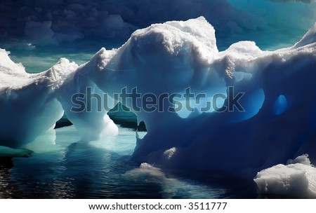 Antarctic ice caves - stock photo