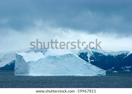 Antarctic ice island in atlantic ocean. South Orkney Islands. - stock photo